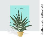 decorative house plants with...   Shutterstock .eps vector #690960538
