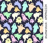 seamless pattern with cute... | Shutterstock .eps vector #690962224