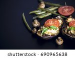 eggplants stuffed with meat and ... | Shutterstock . vector #690965638