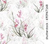 seamless floral retro pattern ... | Shutterstock . vector #690967168