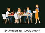 enjoying dinner with friends... | Shutterstock .eps vector #690969544