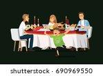 enjoying dinner with friends... | Shutterstock .eps vector #690969550