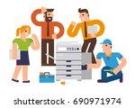 flat design illustration... | Shutterstock .eps vector #690971974