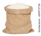 White Rice In Burlap Sack Bag...