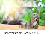 coins saving growth up to... | Shutterstock . vector #690977110