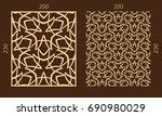 laser cutting set. woodcut... | Shutterstock .eps vector #690980029