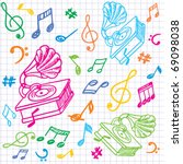 seamless music background with... | Shutterstock .eps vector #69098038