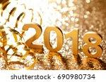 new year 2018 decoration closeup | Shutterstock . vector #690980734