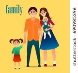 young happy family father ... | Shutterstock .eps vector #690985396
