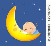 baby sleep on the moon. | Shutterstock .eps vector #690987040