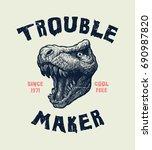 tyrannosaurus head. hand drawn... | Shutterstock .eps vector #690987820
