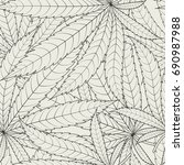 cannabis leafs   seamless... | Shutterstock .eps vector #690987988