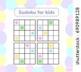 vector illustration. sudoku for ... | Shutterstock .eps vector #690989128
