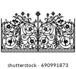 black metal gate with a forged... | Shutterstock .eps vector #690991873