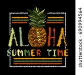 embroidery pineapple  aloha... | Shutterstock .eps vector #690994564