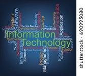information technology word... | Shutterstock .eps vector #690995080