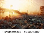 ruins of a city. apocalyptic... | Shutterstock . vector #691007389