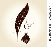 feather pen ink calligraphic... | Shutterstock .eps vector #69101017