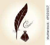 feather pen ink calligraphic... | Shutterstock .eps vector #69101017