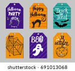 set of gift tags with halloween ... | Shutterstock .eps vector #691013068