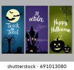 set of three halloween... | Shutterstock .eps vector #691013080
