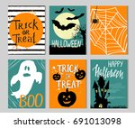 set of cards with halloween... | Shutterstock .eps vector #691013098