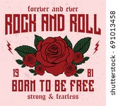 Stock vector rock and roll slogan forever and ever slogan fashion patch rose with leaves fashion patches 691013458