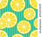 fresh lemons background. hand... | Shutterstock .eps vector #691015429
