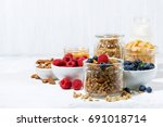healthy products for breakfast  ... | Shutterstock . vector #691018714
