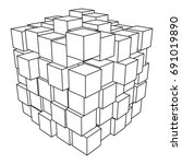 wireframe mesh cube made of... | Shutterstock .eps vector #691019890