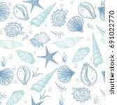 seashells seamless pattern.... | Shutterstock .eps vector #691022770