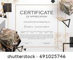 qualification certificate of...   Shutterstock .eps vector #691025746