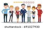 hotel worker service group of... | Shutterstock .eps vector #691027930