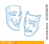 theatrical masks of tragedy and ... | Shutterstock .eps vector #691028698