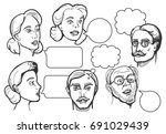 vector set of male and female... | Shutterstock .eps vector #691029439