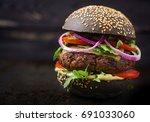 black big sandwich    black... | Shutterstock . vector #691033060