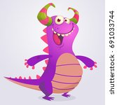 Happy Cartoon Violet Dragon....