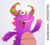happy cartoon violet dragon.... | Shutterstock .eps vector #691033750