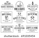 set d of wine badges and icons... | Shutterstock .eps vector #691035454