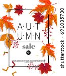 autumn sale vintage vector... | Shutterstock .eps vector #691035730