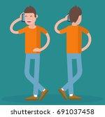 cartoon trendy geek with mobile....   Shutterstock .eps vector #691037458