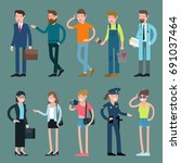 cartoon men and women... | Shutterstock .eps vector #691037464