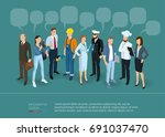 isometric people crowd with... | Shutterstock .eps vector #691037470