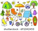 set with children's trekking in ...   Shutterstock . vector #691042453
