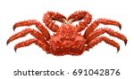 Red brown king crab isolated on white background as package design element