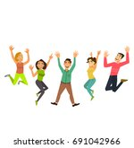 happy group of people jumping... | Shutterstock .eps vector #691042966