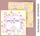 save the date card  wedding... | Shutterstock .eps vector #691044634