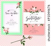 save the date card  wedding... | Shutterstock .eps vector #691044676