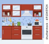 small kitchen with red... | Shutterstock .eps vector #691045924