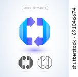 abstract arrows logo template.... | Shutterstock .eps vector #691046674